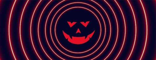 Неоновый стиль хэллоуин баннер с призрачным лицом Бесплатные векторы