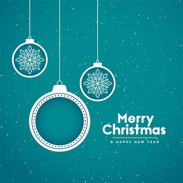 Счастливого рождества праздник фон с декоративными шарами Бесплатные векторы