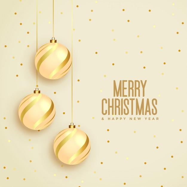 Веселая рождественская открытка с золотыми шарами Бесплатные векторы