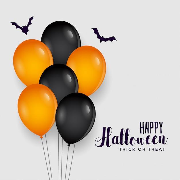 Счастливый хэллоуин фон с воздушными шарами Бесплатные векторы