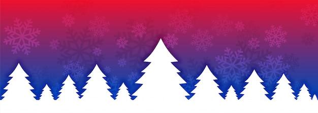 祭りのシーズンの活気のあるクリスマスツリーバナー 無料ベクター