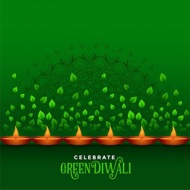 Счастливого дивали праздник эко зеленый фон Бесплатные векторы