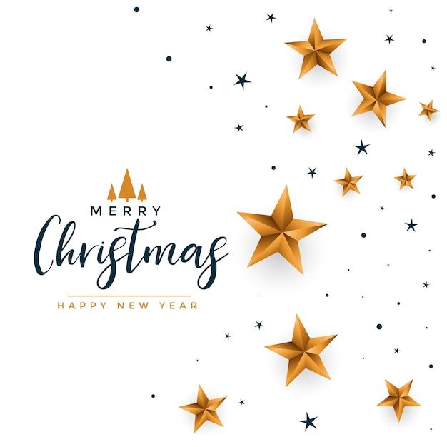 金色の星とメリークリスマス白挨拶 無料ベクター