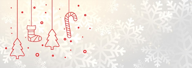 Белый баннер с рождественским украшением Бесплатные векторы