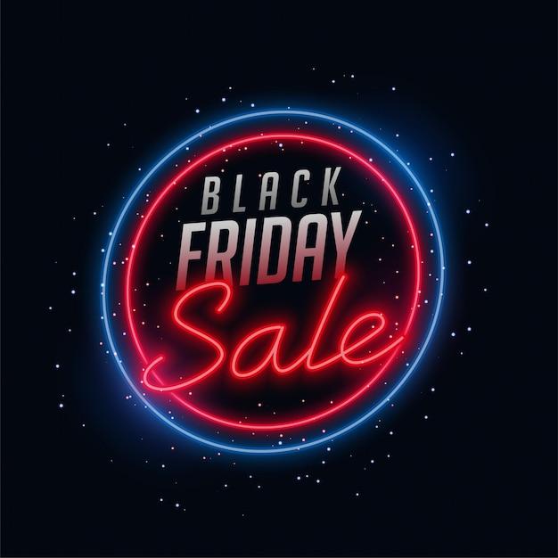 Неоновый стиль черная пятница продажа баннер Бесплатные векторы