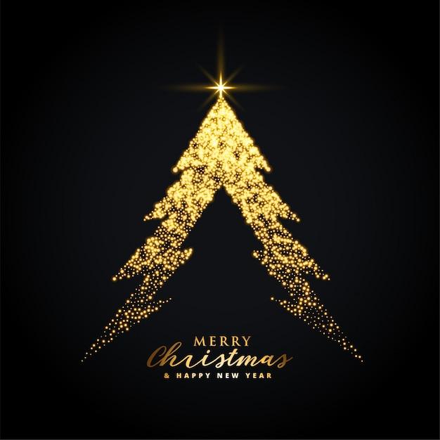 黄金の輝くメリークリスマスツリーの背景色 無料ベクター