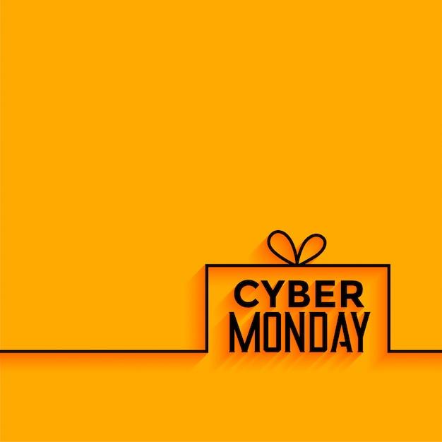 サイバー月曜日黄色の最小限のスタイルの背景 無料ベクター