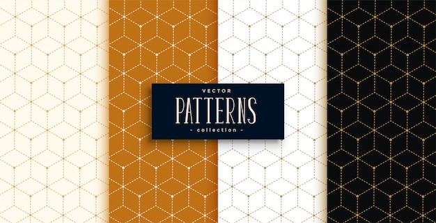 幾何学的な線のスタイルで設定された六角形の豪華なパターン 無料ベクター