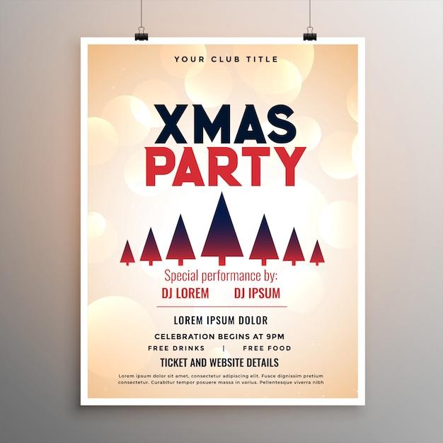 エレガントなメリークリスマスパーティーのフライヤーテンプレート 無料ベクター