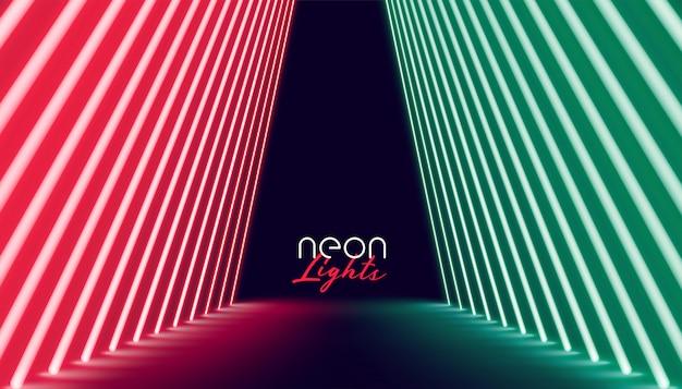 Путь неонового света красного и зеленого цвета Бесплатные векторы