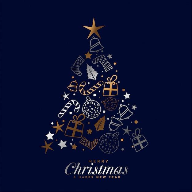 装飾的な要素を持つ創造的なメリークリスマスフェスティバルカード 無料ベクター