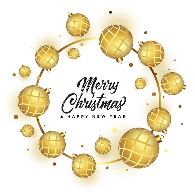 ゴールデンボールと美しいメリークリスマス白挨拶 無料ベクター