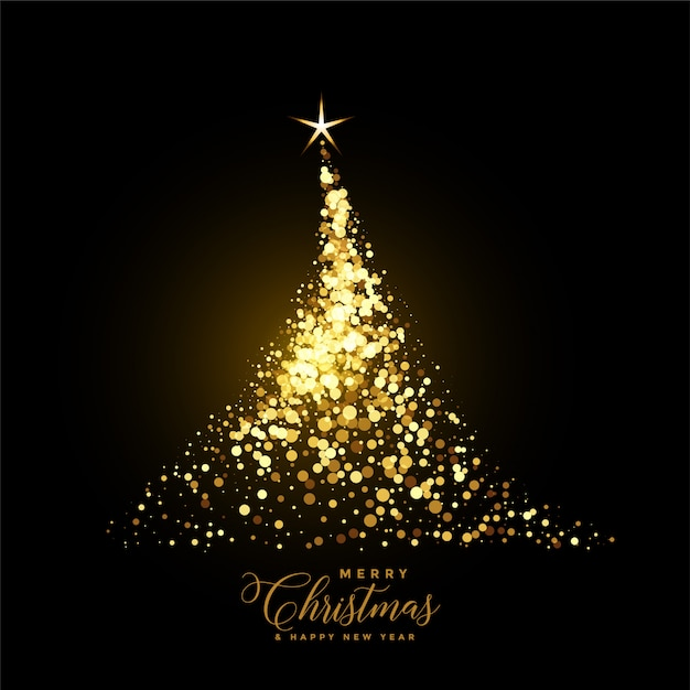 輝きで作られた輝くゴールドのクリスマスツリー 無料ベクター
