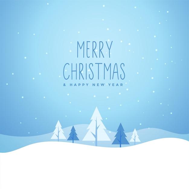 木とメリークリスマス冬雪景色 無料ベクター
