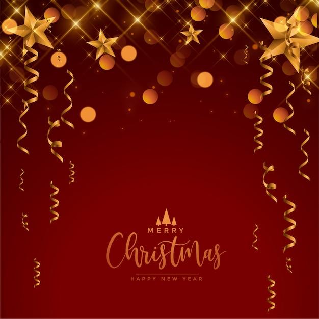 メリークリスマスフェスティバルのお祝いの赤と金の挨拶 無料ベクター