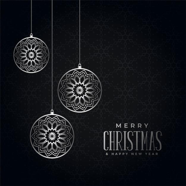 メリークリスマス黒と銀祭りの挨拶 無料ベクター