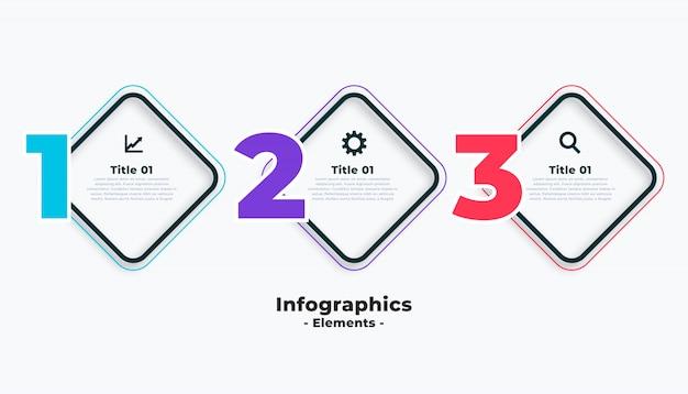 Три шага бизнес инфографики шаблон Бесплатные векторы