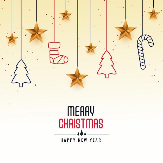 メリークリスマスフェスティバルカード挨拶背景 無料ベクター