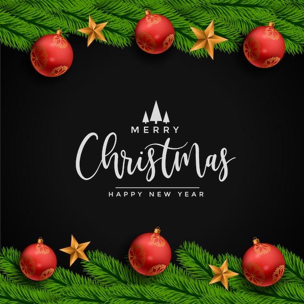 星のボールと葉のメリークリスマスフェスティバルカード 無料ベクター