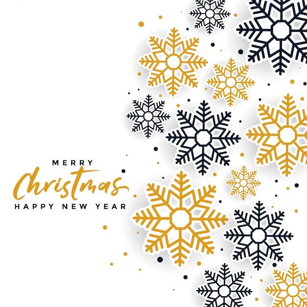 Красивый веселый рождественский дизайн снежинок Бесплатные векторы