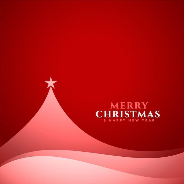 Элегантная минимальная рождественская елка дизайн красная карточка Бесплатные векторы
