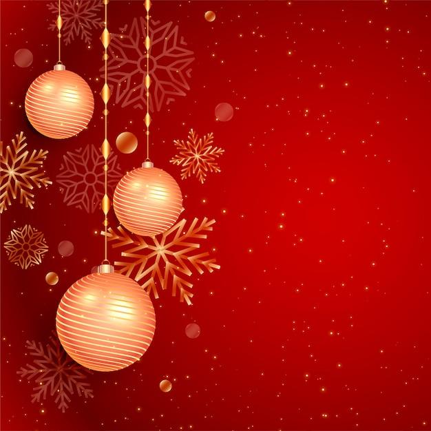 クリスマスボールと雪の赤い背景 無料ベクター