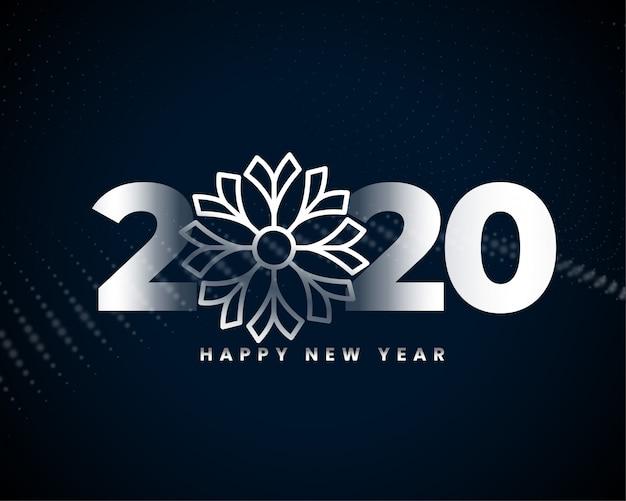 С новым годом красивый дизайн серебряной карты Бесплатные векторы