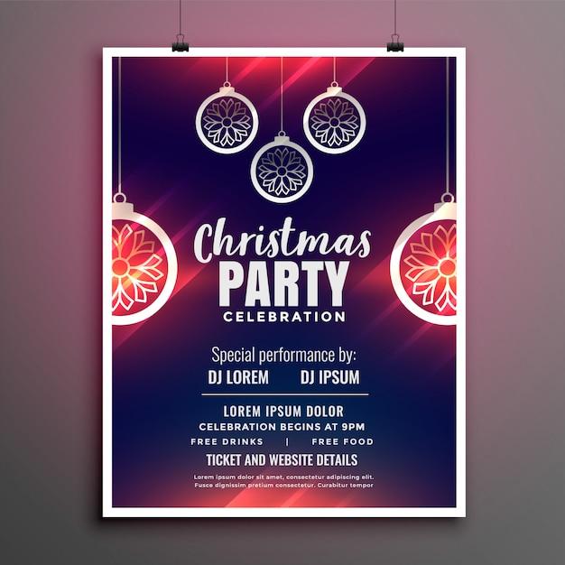 メリークリスマスパーティーフライヤーデザインポスター 無料ベクター
