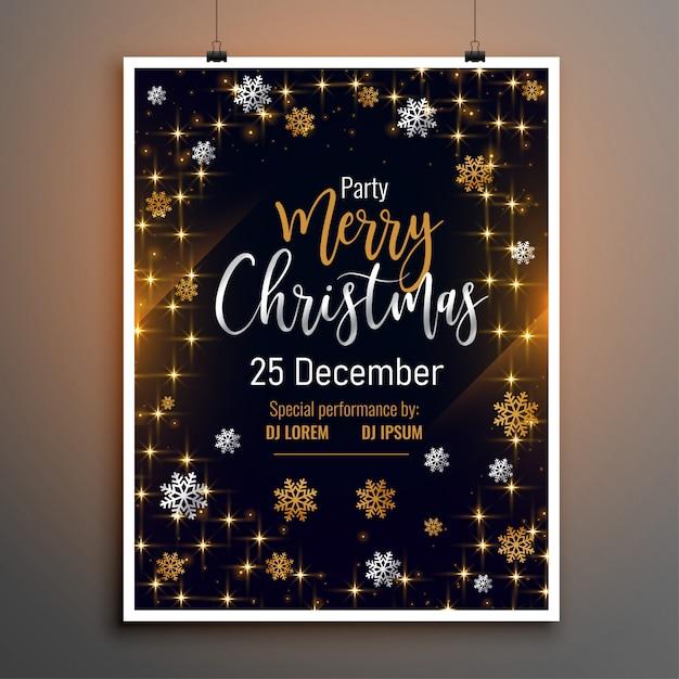 Счастливого рождества прекрасный флаер плакат дизайн шаблона Бесплатные векторы