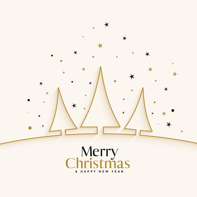 ラインツリーと白いクリスマス祭りの背景 無料ベクター
