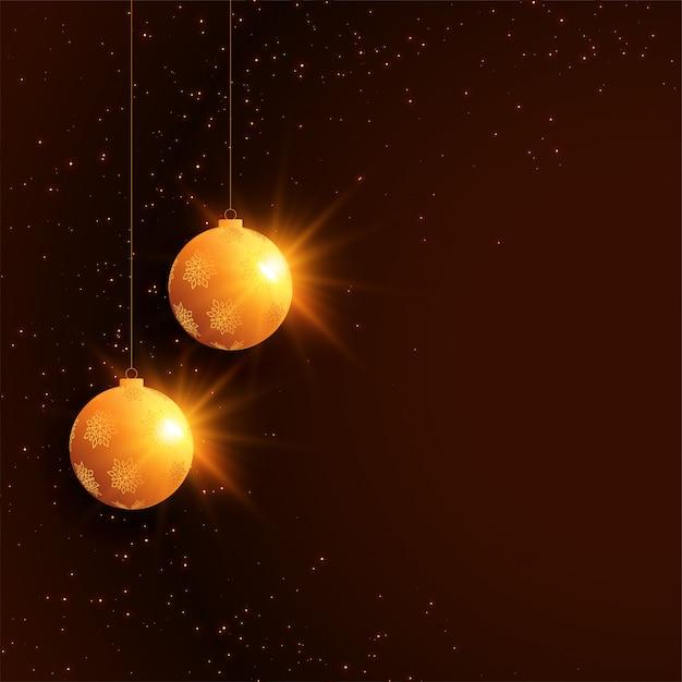 ボールの装飾とメリークリスマスフェスティバルのお祝い背景 無料ベクター