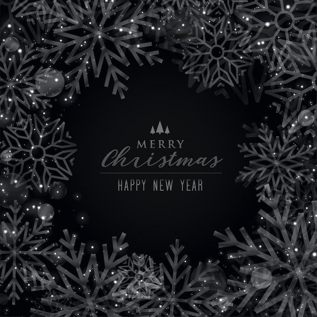 メリークリスマス黒テーマ雪片の背景 無料ベクター