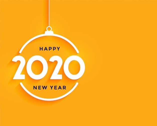 С новым годом ярко-желтый минимальный фон Бесплатные векторы