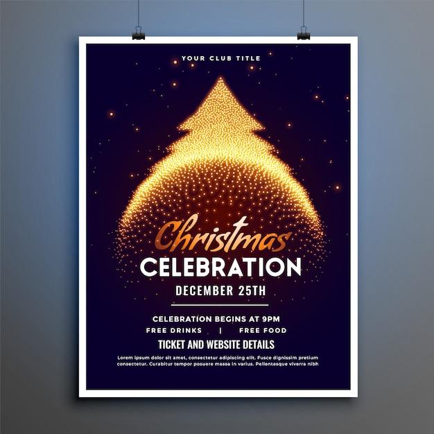 輝きクリスマスツリーとクリスマスのお祝いチラシ 無料ベクター