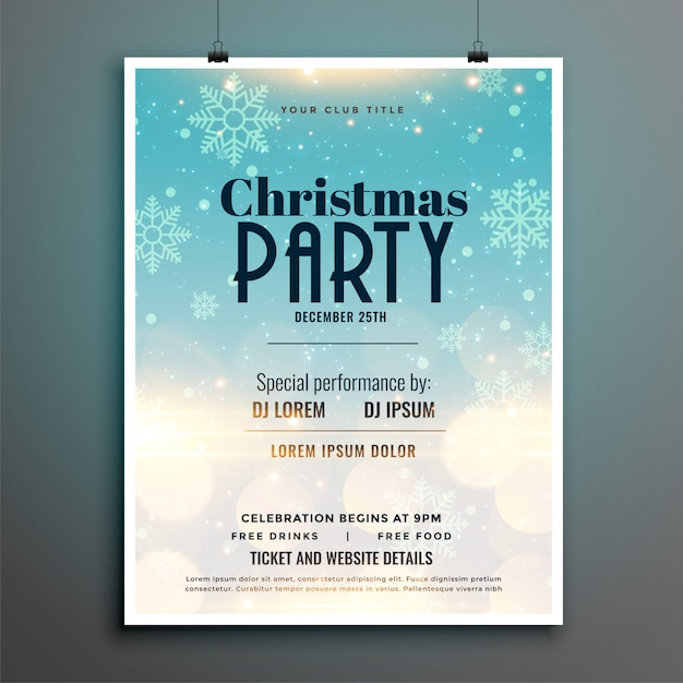 Шаблон плаката листовки снежинки рождественская вечеринка Бесплатные векторы