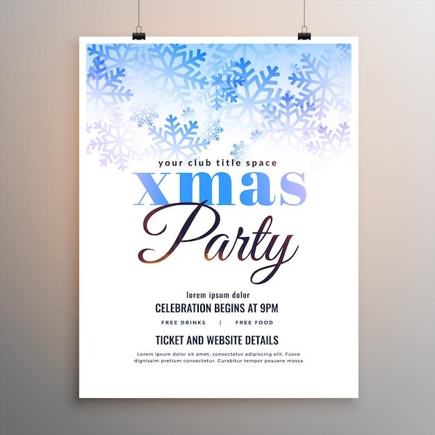 Веселая рождественская вечеринка белые снежинки флаер Бесплатные векторы