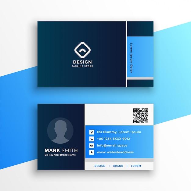 Профессиональный синий геометрический шаблон визитной карточки Бесплатные векторы