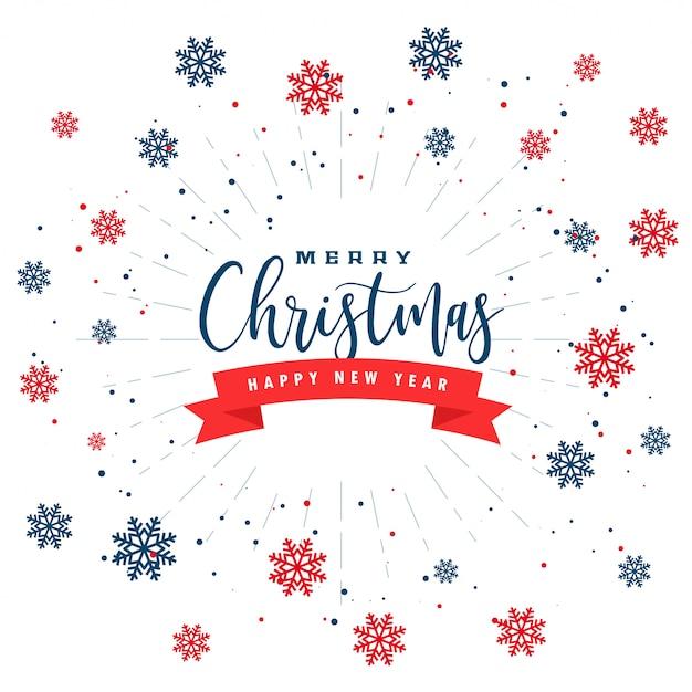 メリークリスマスと赤黒雪の結晶新年あけましておめでとうございますグリーティングカード 無料ベクター