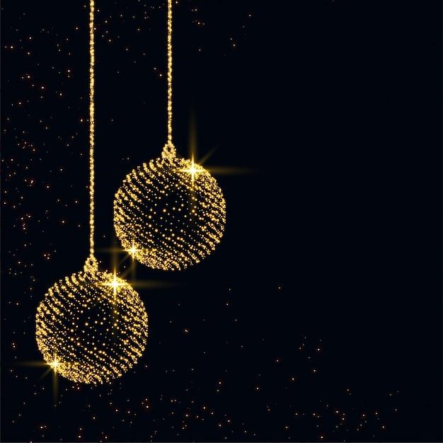 メリークリスマスの輝きクリスマスボール背景デザイン 無料ベクター