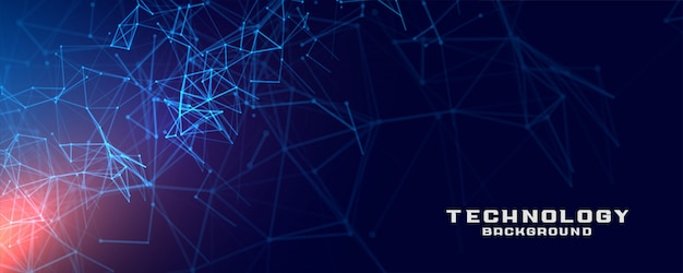 抽象的なテクノロジーネットワークメッシュコンセプトバナー背景デザイン 無料ベクター