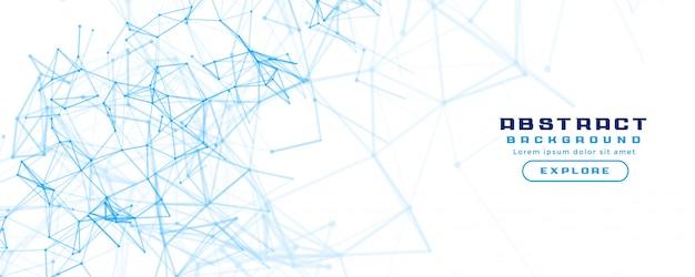 抽象的なネットワークメッシュ図と白い旗の背景 無料ベクター