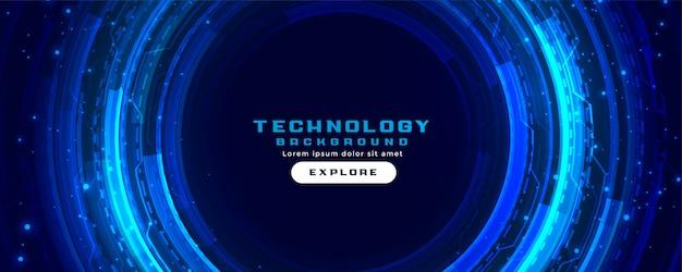 青い色の未来的なデジタル技術コンセプトバナーの背景 無料ベクター