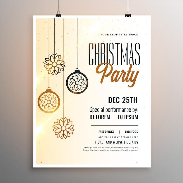 Веселая рождественская вечеринка белый флаер шаблон дизайна Бесплатные векторы