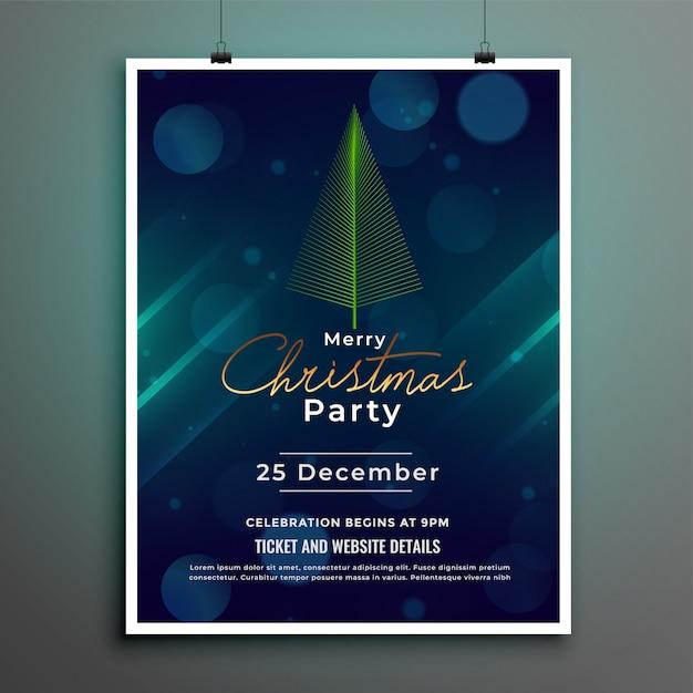 メリークリスマスフェスティバルチラシポスターテンプレートデザイン 無料ベクター