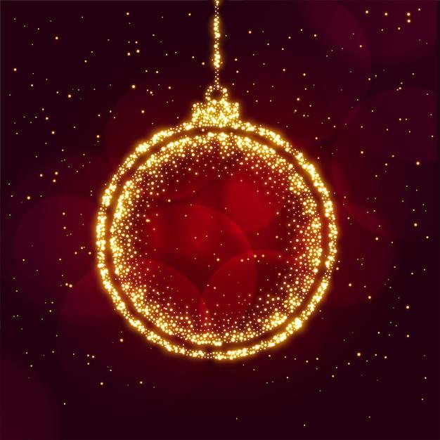 輝きの背景で作られたメリークリスマスボール 無料ベクター