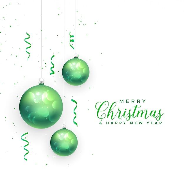 メリークリスマスと幸せな新年のグリーティングカード 無料ベクター