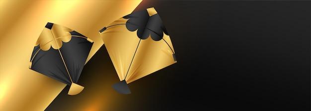 Золотой баннер дизайн воздушных змеев с пространством для текста Бесплатные векторы