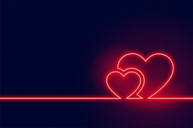 輝く赤いネオンハートバレンタイン当日の背景 無料ベクター