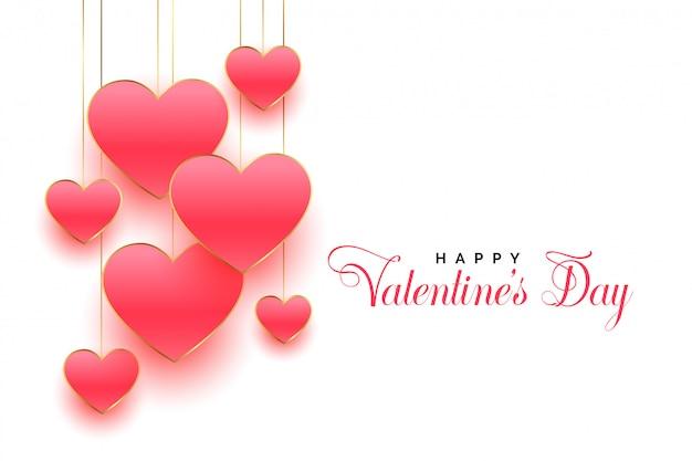 幸せなバレンタインデー美しいピンクのハートグリーティングカードデザイン 無料ベクター