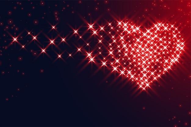 バレンタインの日デザインの輝きで作られた心 無料ベクター